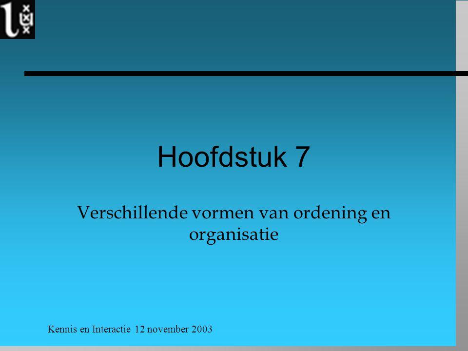 Kennis en Interactie 12 november 2003 Hoofdstuk 7 Verschillende vormen van ordening en organisatie