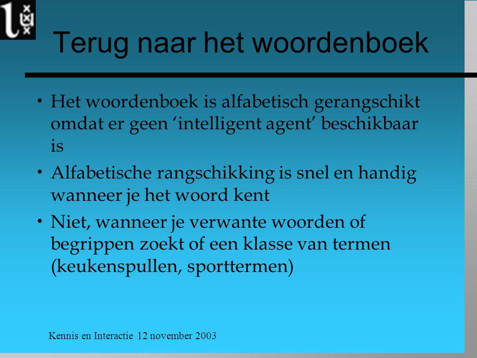Kennis en Interactie 12 november 2003 Terug naar het woordenboek  Het woordenboek is alfabetisch gerangschikt omdat er geen 'intelligent agent' besch