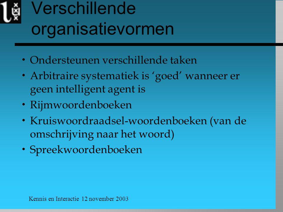 Kennis en Interactie 12 november 2003 Verschillende organisatievormen  Ondersteunen verschillende taken  Arbitraire systematiek is 'goed' wanneer er