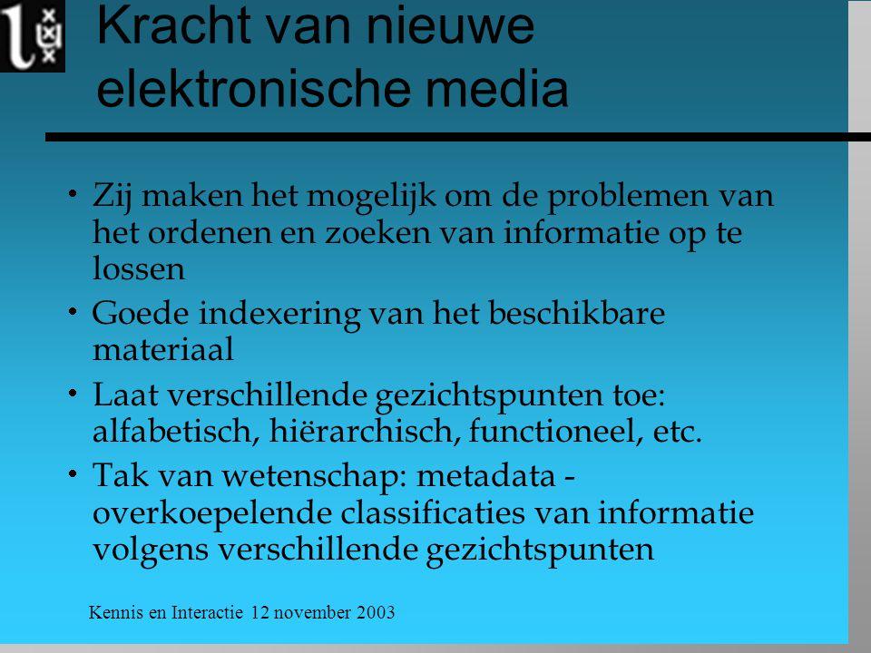 Kennis en Interactie 12 november 2003 Kracht van nieuwe elektronische media  Zij maken het mogelijk om de problemen van het ordenen en zoeken van inf