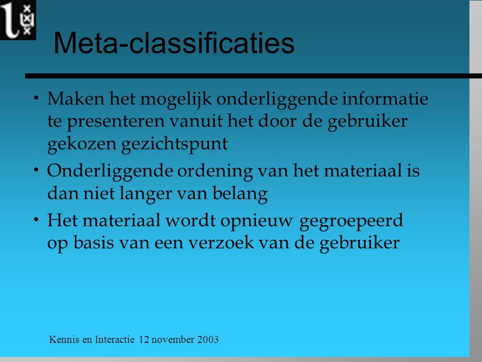 Kennis en Interactie 12 november 2003 Meta-classificaties  Maken het mogelijk onderliggende informatie te presenteren vanuit het door de gebruiker gekozen gezichtspunt  Onderliggende ordening van het materiaal is dan niet langer van belang  Het materiaal wordt opnieuw gegroepeerd op basis van een verzoek van de gebruiker