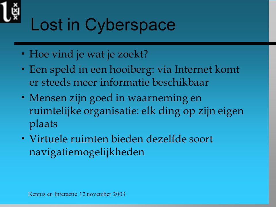 Kennis en Interactie 12 november 2003 Lost in Cyberspace  Hoe vind je wat je zoekt?  Een speld in een hooiberg: via Internet komt er steeds meer inf