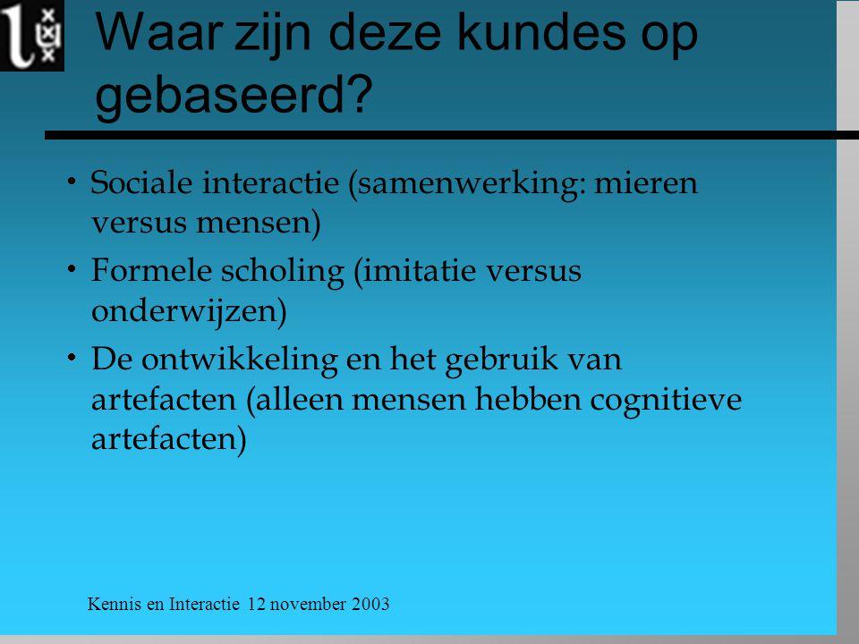 Kennis en Interactie 12 november 2003 Waar zijn deze kundes op gebaseerd?  Sociale interactie (samenwerking: mieren versus mensen)  Formele scholing