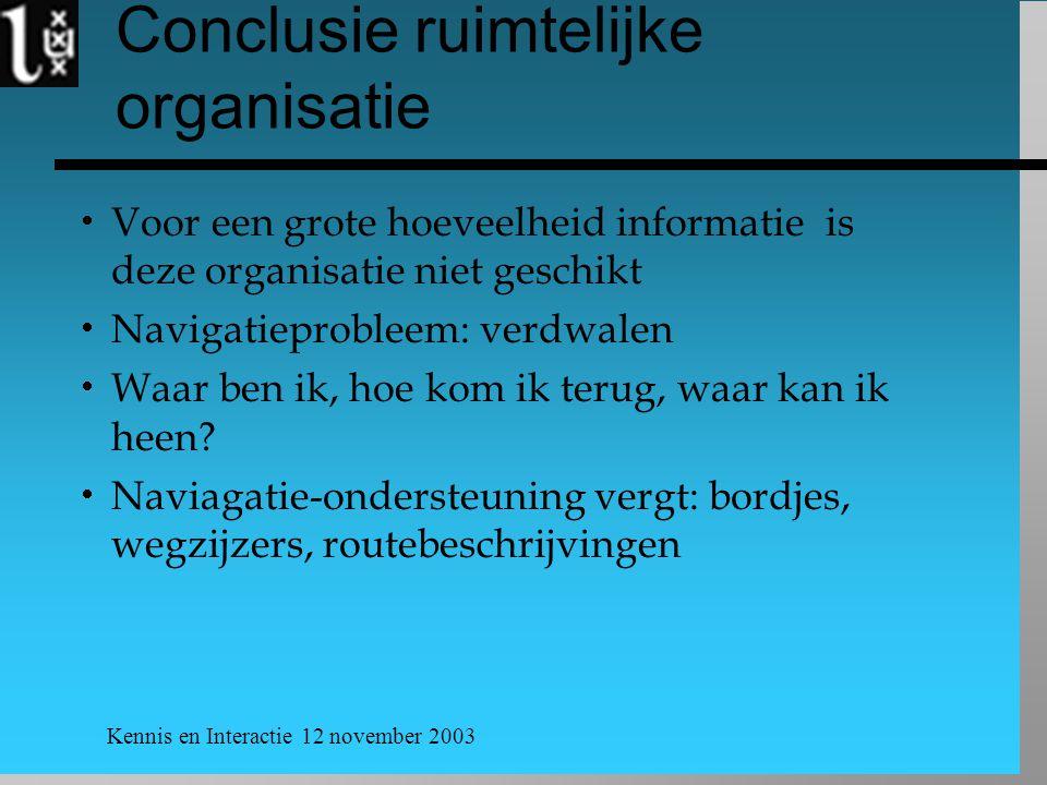 Kennis en Interactie 12 november 2003 Conclusie ruimtelijke organisatie  Voor een grote hoeveelheid informatie is deze organisatie niet geschikt  Navigatieprobleem: verdwalen  Waar ben ik, hoe kom ik terug, waar kan ik heen.