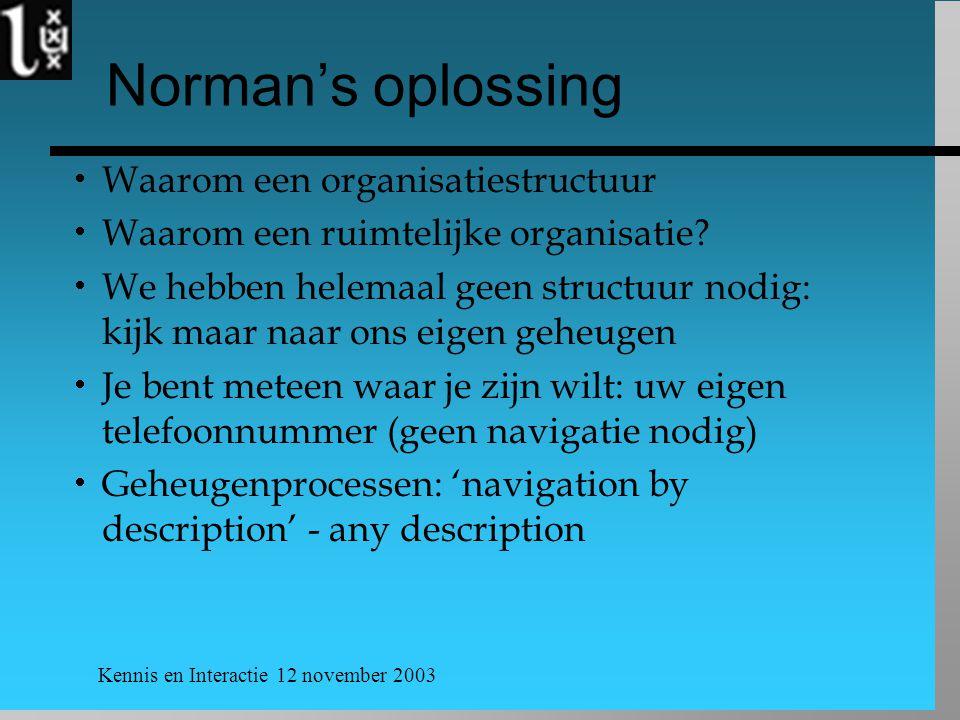 Kennis en Interactie 12 november 2003 Norman's oplossing  Waarom een organisatiestructuur  Waarom een ruimtelijke organisatie?  We hebben helemaal