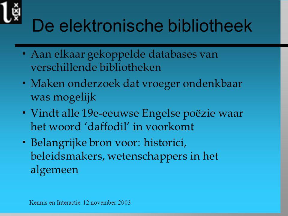 Kennis en Interactie 12 november 2003 De elektronische bibliotheek  Aan elkaar gekoppelde databases van verschillende bibliotheken  Maken onderzoek