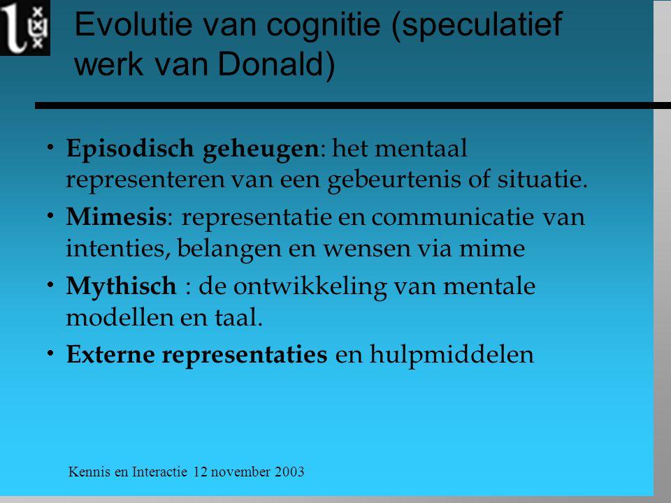 Kennis en Interactie 12 november 2003 Evolutie van cognitie (speculatief werk van Donald)  Episodisch geheugen : het mentaal representeren van een ge