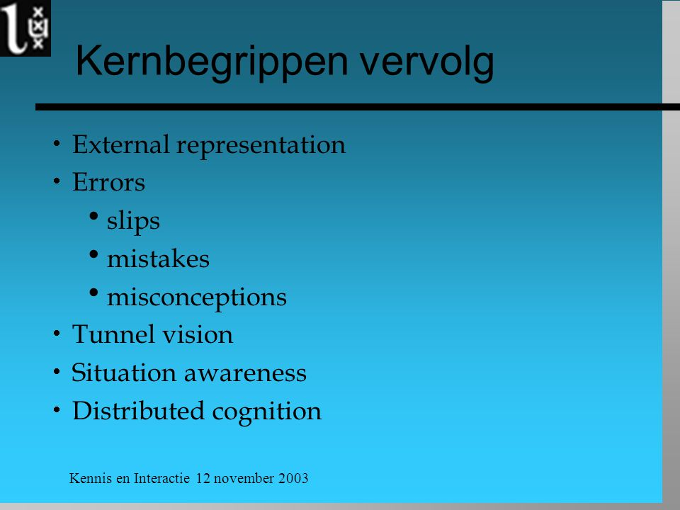 Kennis en Interactie 12 november 2003 Kernbegrippen vervolg  External representation  Errors  slips  mistakes  misconceptions  Tunnel vision  Situation awareness  Distributed cognition