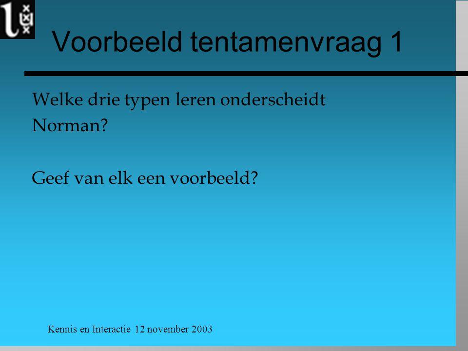Kennis en Interactie 12 november 2003 Voorbeeld tentamenvraag 1 Welke drie typen leren onderscheidt Norman? Geef van elk een voorbeeld?