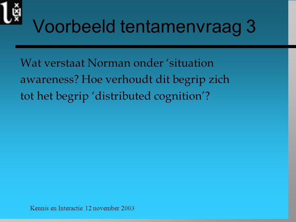 Kennis en Interactie 12 november 2003 Voorbeeld tentamenvraag 3 Wat verstaat Norman onder 'situation awareness? Hoe verhoudt dit begrip zich tot het b