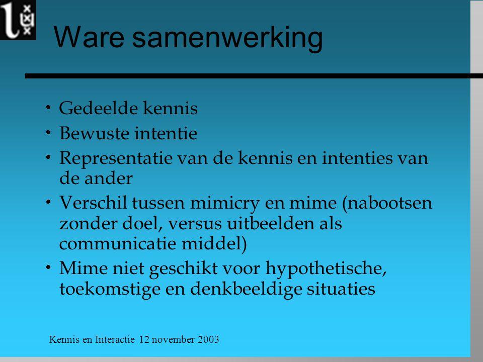 Kennis en Interactie 12 november 2003 Ware samenwerking  Gedeelde kennis  Bewuste intentie  Representatie van de kennis en intenties van de ander 