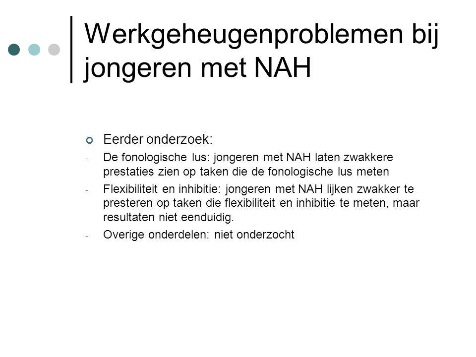 Werkgeheugenproblemen bij jongeren met NAH Eerder onderzoek: - De fonologische lus: jongeren met NAH laten zwakkere prestaties zien op taken die de fo