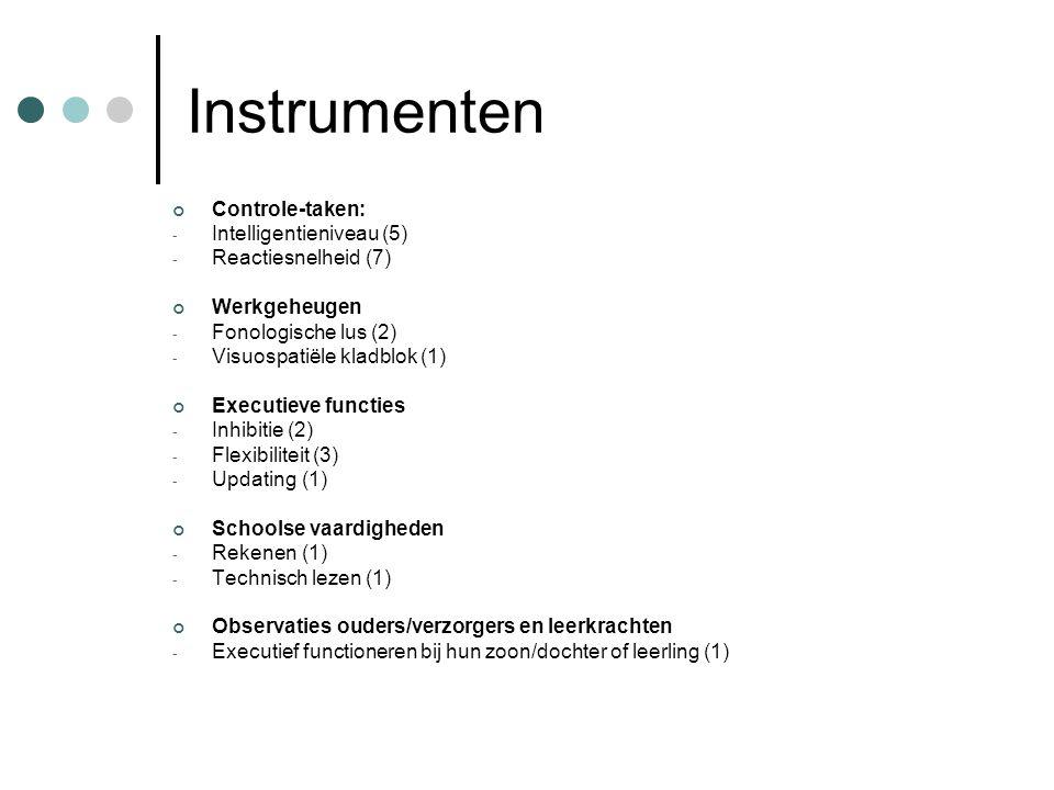 Instrumenten Controle-taken: - Intelligentieniveau (5) - Reactiesnelheid (7) Werkgeheugen - Fonologische lus (2) - Visuospatiële kladblok (1) Executie