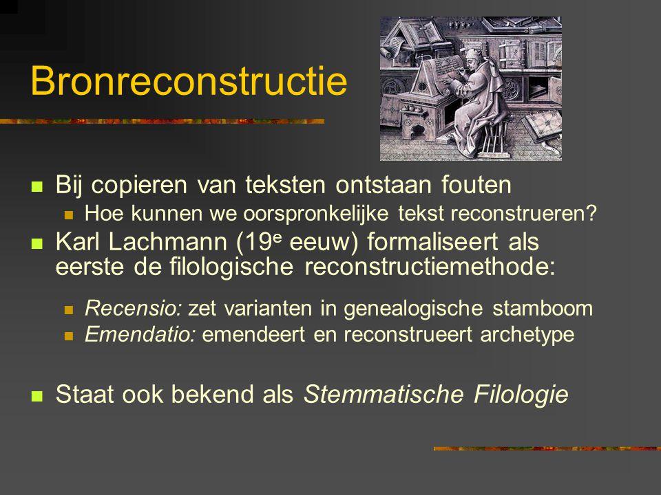 Bronreconstructie Bij copieren van teksten ontstaan fouten Hoe kunnen we oorspronkelijke tekst reconstrueren? Karl Lachmann (19 e eeuw) formaliseert a