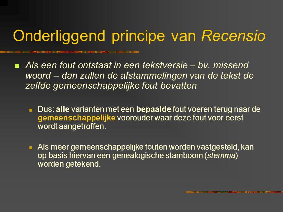 Onderliggend principe van Recensio Als een fout ontstaat in een tekstversie – bv. missend woord – dan zullen de afstammelingen van de tekst de zelfde