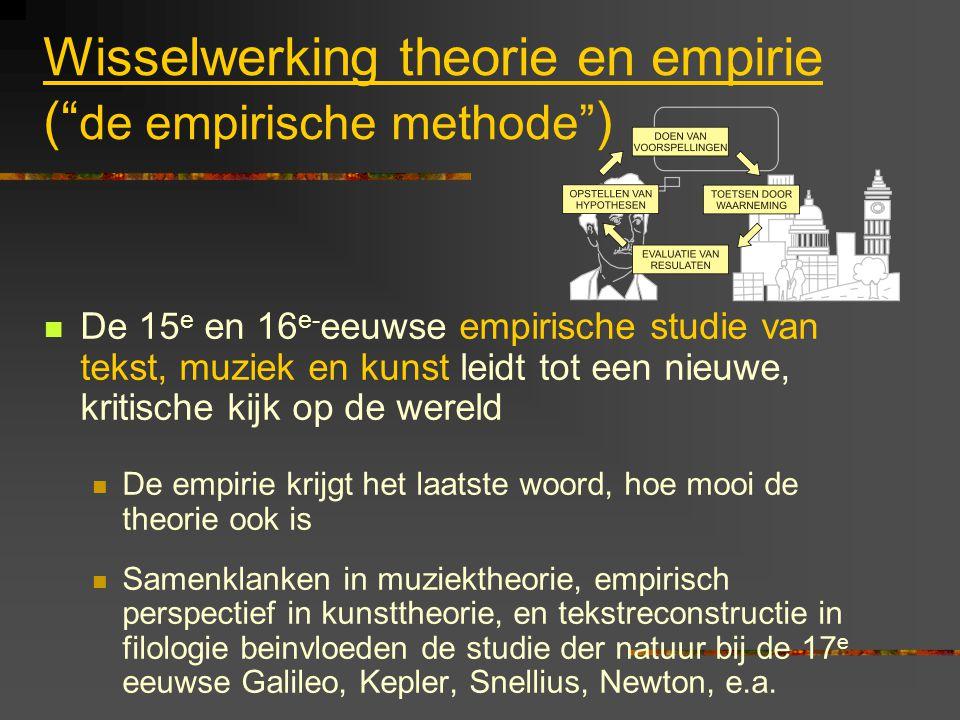 """Wisselwerking theorie en empirie ("""" de empirische methode"""" ) De 15 e en 16 e- eeuwse empirische studie van tekst, muziek en kunst leidt tot een nieuwe"""