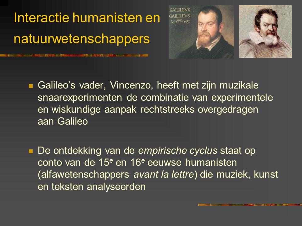 Interactie humanisten en natuurwetenschappers Galileo's vader, Vincenzo, heeft met zijn muzikale snaarexperimenten de combinatie van experimentele en