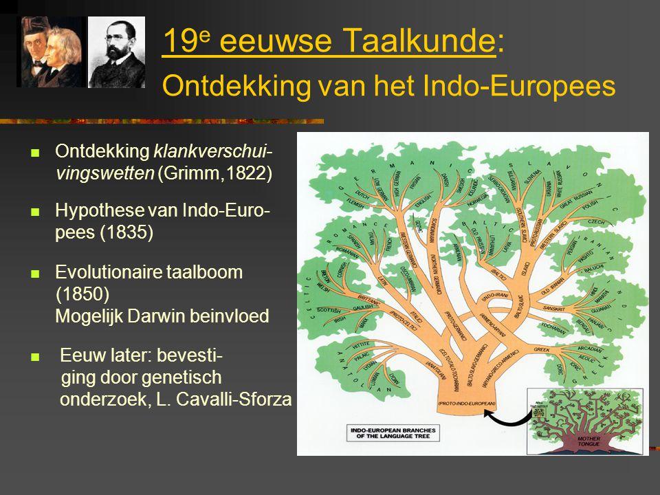 19 e eeuwse Taalkunde: Ontdekking van het Indo-Europees Ontdekking klankverschui- vingswetten (Grimm,1822) Hypothese van Indo-Euro- pees (1835) Evolutionaire taalboom (1850) Mogelijk Darwin beinvloed Eeuw later: bevesti- ging door genetisch onderzoek, L.