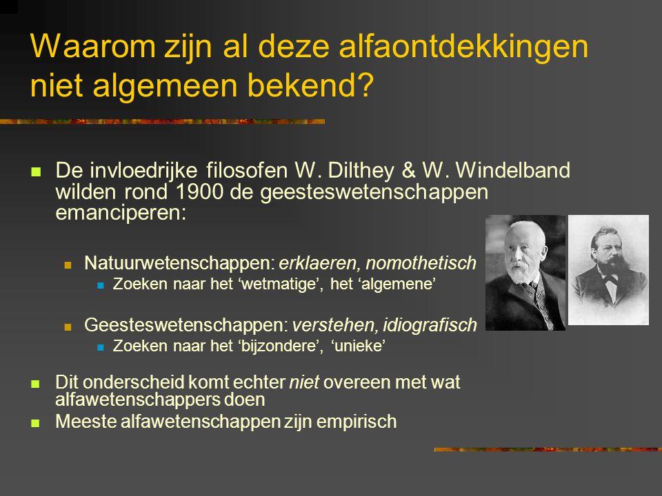 Waarom zijn al deze alfaontdekkingen niet algemeen bekend? De invloedrijke filosofen W. Dilthey & W. Windelband wilden rond 1900 de geesteswetenschapp