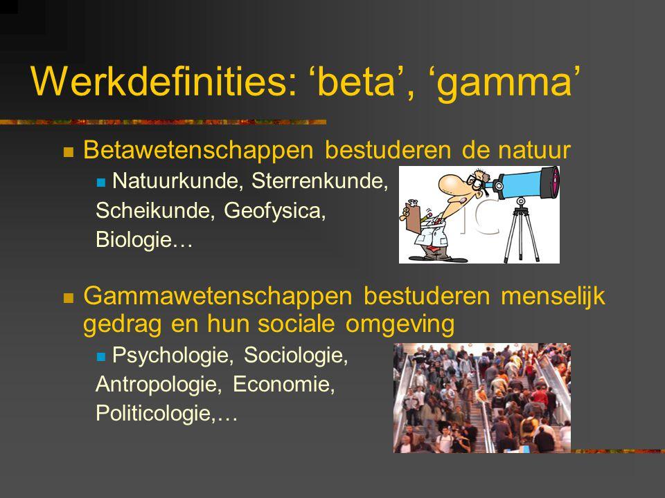 Werkdefinities: 'beta', 'gamma' Betawetenschappen bestuderen de natuur Natuurkunde, Sterrenkunde, Scheikunde, Geofysica, Biologie… Gammawetenschappen