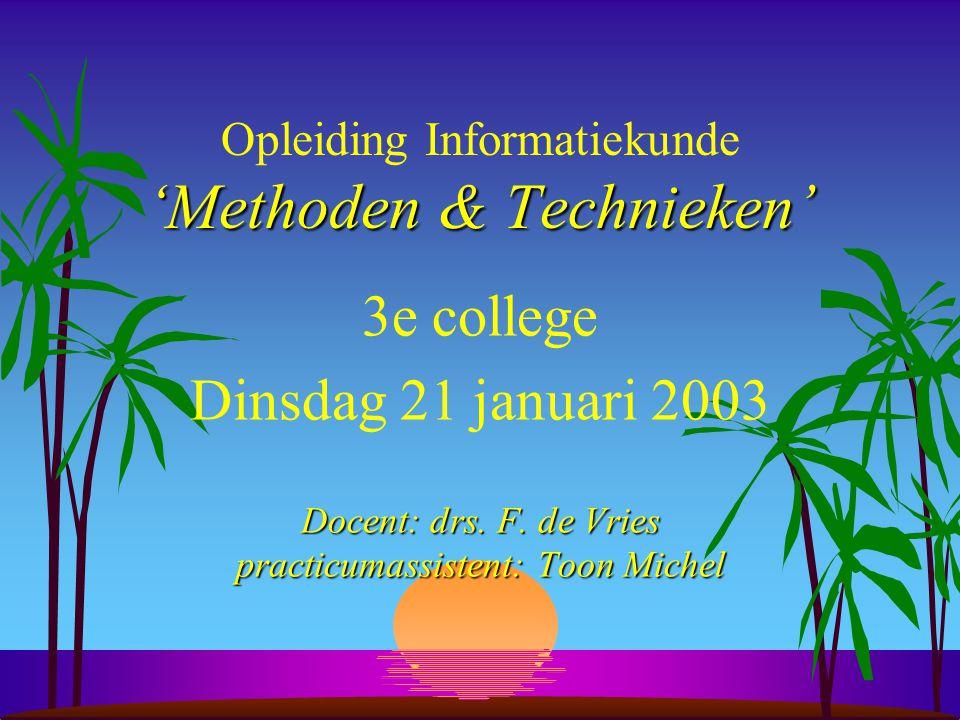 'Methoden & Technieken' Opleiding Informatiekunde 'Methoden & Technieken' 3e college Dinsdag 21 januari 2003 Docent: drs.