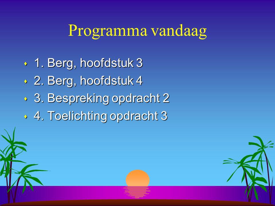Programma vandaag s 1. Berg, hoofdstuk 3 s 2. Berg, hoofdstuk 4 s 3.