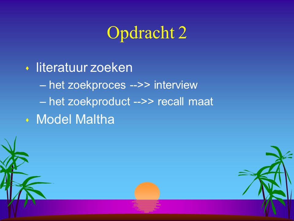 Opdracht 2 s literatuur zoeken –het zoekproces -->> interview –het zoekproduct -->> recall maat s Model Maltha