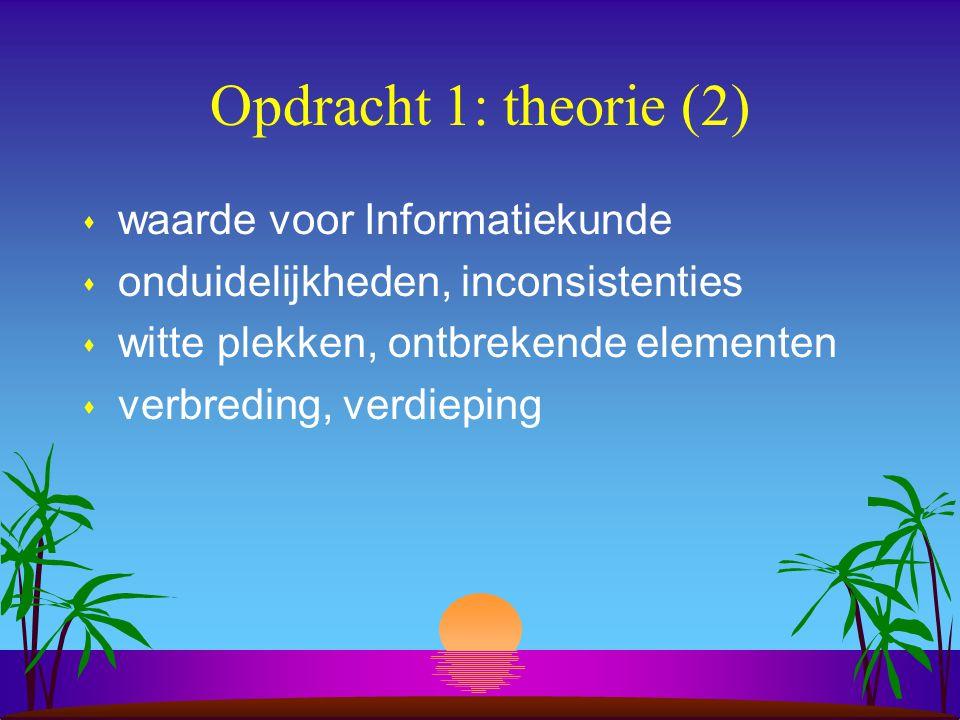 Opdracht 1: theorie (2) s waarde voor Informatiekunde s onduidelijkheden, inconsistenties s witte plekken, ontbrekende elementen s verbreding, verdieping