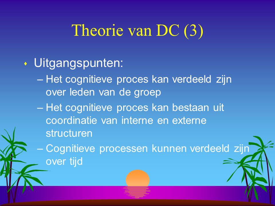 Theorie van DC (3) s Uitgangspunten: –Het cognitieve proces kan verdeeld zijn over leden van de groep –Het cognitieve proces kan bestaan uit coordinatie van interne en externe structuren –Cognitieve processen kunnen verdeeld zijn over tijd