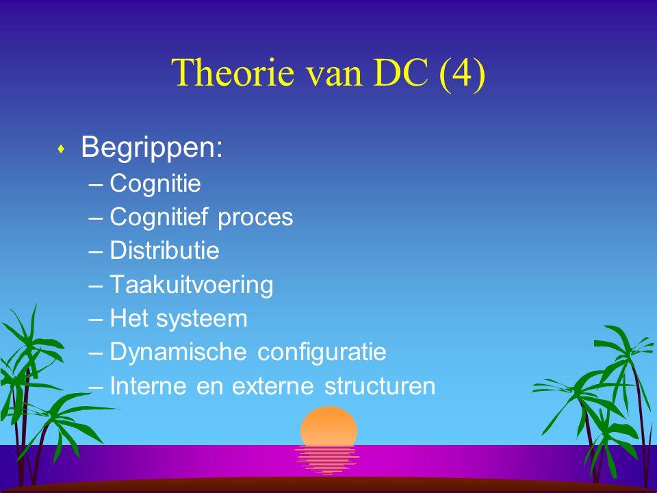 Theorie van DC (4) s Begrippen: –Cognitie –Cognitief proces –Distributie –Taakuitvoering –Het systeem –Dynamische configuratie –Interne en externe structuren