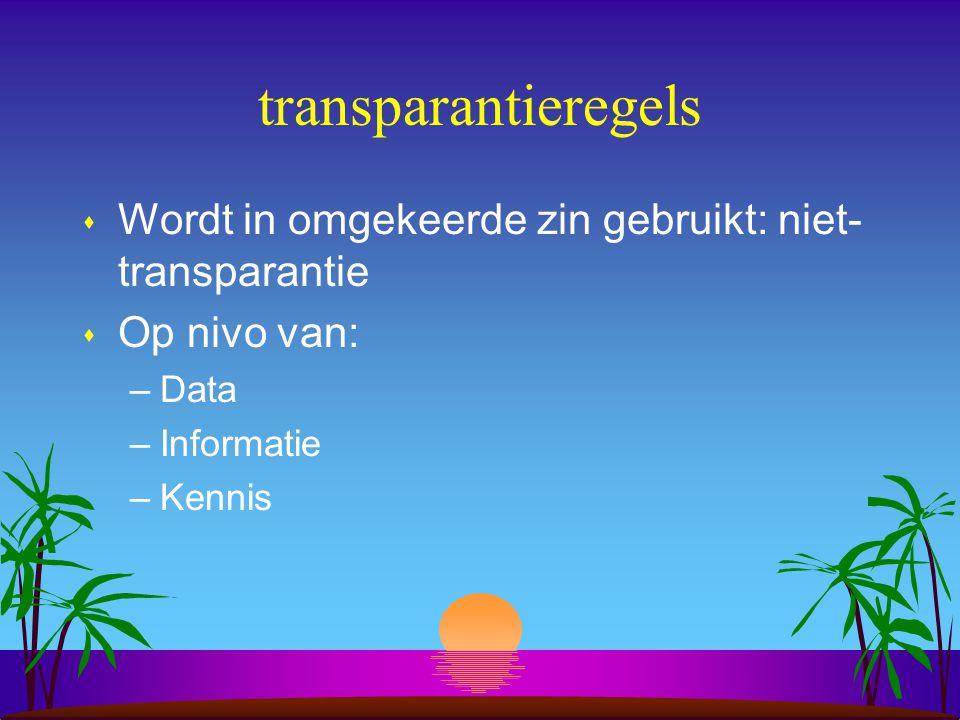 transparantieregels s Wordt in omgekeerde zin gebruikt: niet- transparantie s Op nivo van: –Data –Informatie –Kennis