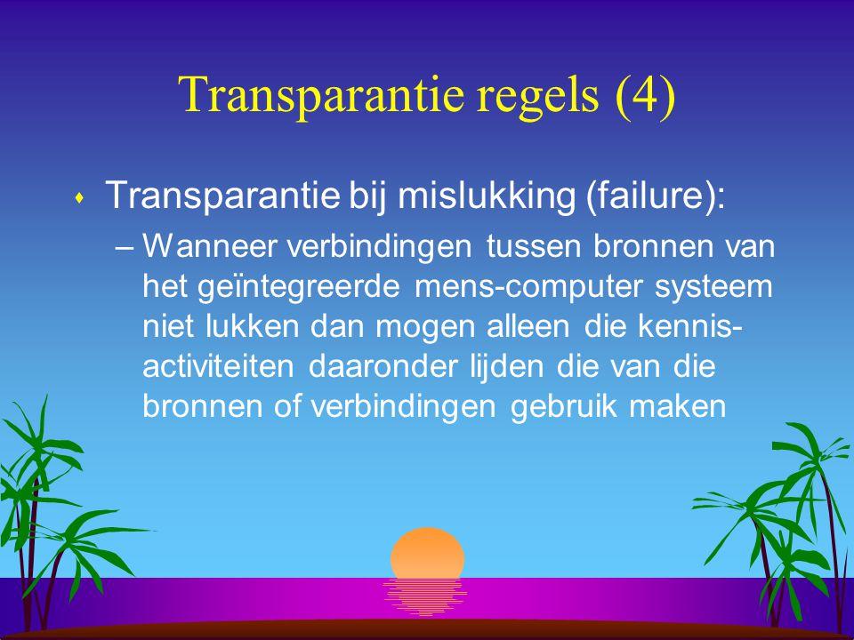 Transparantie regels (4) s Transparantie bij mislukking (failure): –Wanneer verbindingen tussen bronnen van het geïntegreerde mens-computer systeem niet lukken dan mogen alleen die kennis- activiteiten daaronder lijden die van die bronnen of verbindingen gebruik maken