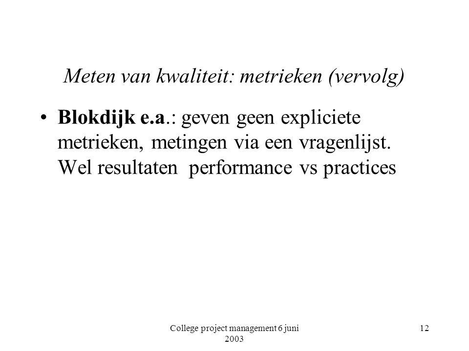 College project management 6 juni 2003 12 Meten van kwaliteit: metrieken (vervolg) Blokdijk e.a.: geven geen expliciete metrieken, metingen via een vragenlijst.