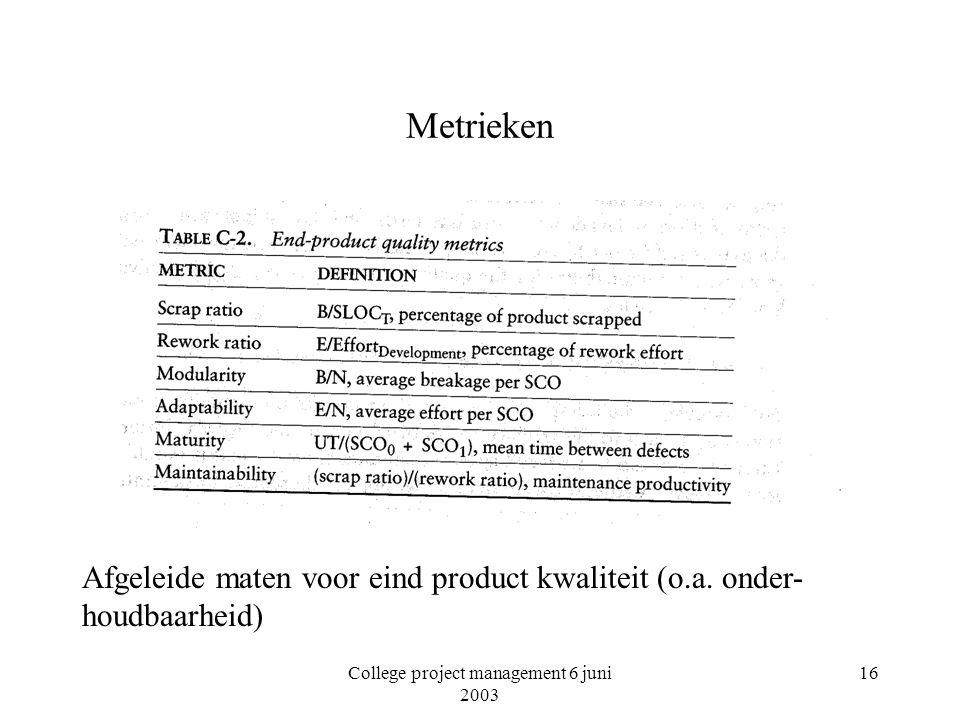 College project management 6 juni 2003 16 Metrieken Afgeleide maten voor eind product kwaliteit (o.a. onder- houdbaarheid)