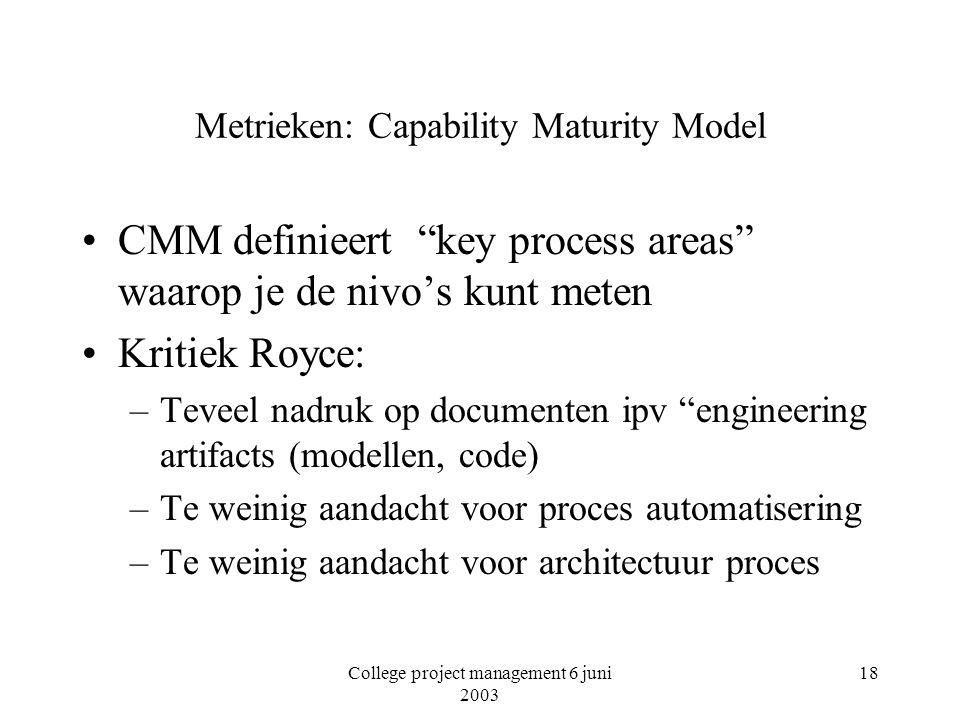College project management 6 juni 2003 18 Metrieken: Capability Maturity Model CMM definieert key process areas waarop je de nivo's kunt meten Kritiek Royce: –Teveel nadruk op documenten ipv engineering artifacts (modellen, code) –Te weinig aandacht voor proces automatisering –Te weinig aandacht voor architectuur proces