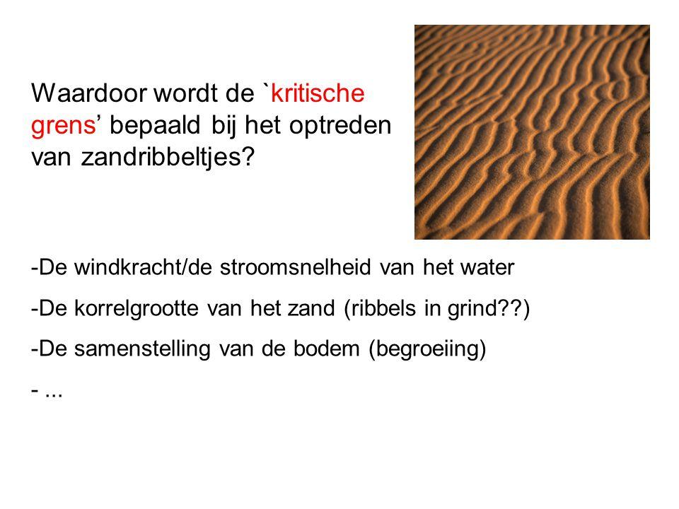 Waardoor wordt de `kritische grens' bepaald bij het optreden van zandribbeltjes? -De windkracht/de stroomsnelheid van het water -De korrelgrootte van