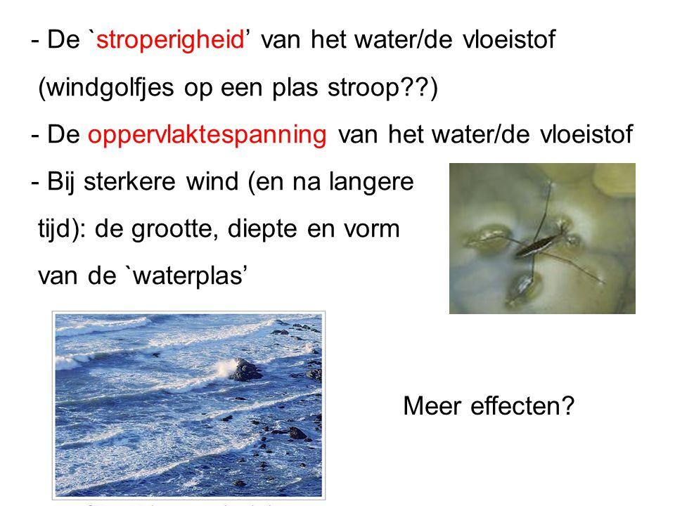 - De `stroperigheid' van het water/de vloeistof (windgolfjes op een plas stroop??) - De oppervlaktespanning van het water/de vloeistof - Bij sterkere