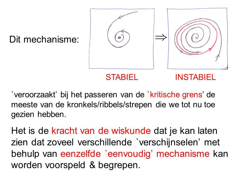 STABIELINSTABIEL Dit mechanisme: `veroorzaakt' bij het passeren van de `kritische grens' de meeste van de kronkels/ribbels/strepen die we tot nu toe g