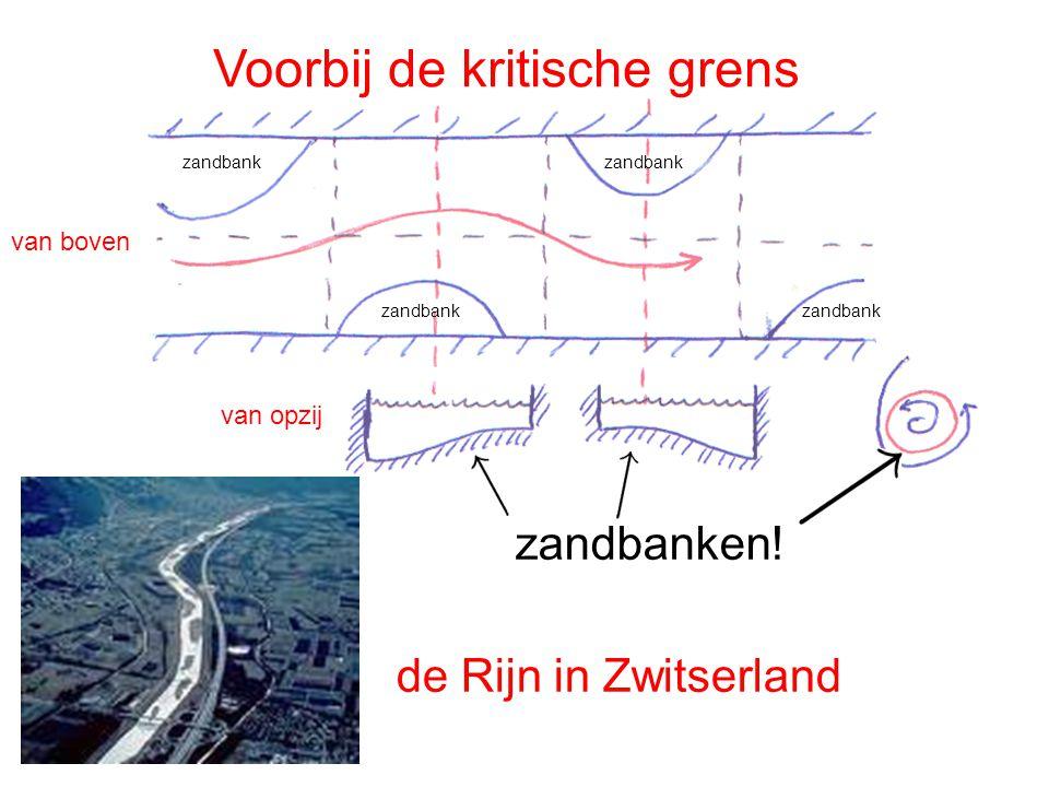 Voorbij de kritische grens van boven van opzij zandbank zandbanken! de Rijn in Zwitserland