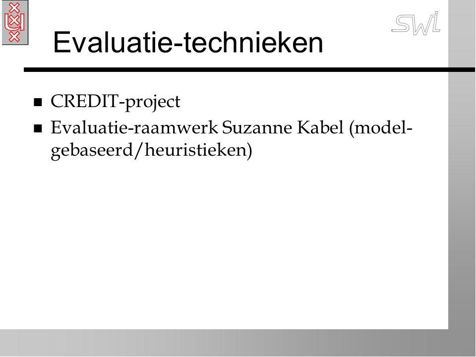 Evaluatie-technieken n CREDIT-project n Evaluatie-raamwerk Suzanne Kabel (model- gebaseerd/heuristieken)
