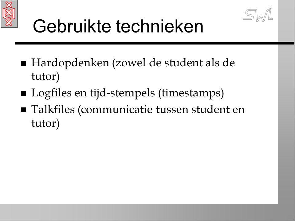 Gebruikte technieken n Hardopdenken (zowel de student als de tutor) n Logfiles en tijd-stempels (timestamps) n Talkfiles (communicatie tussen student en tutor)