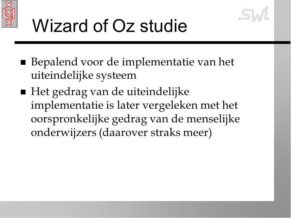 Wizard of Oz studie n Bepalend voor de implementatie van het uiteindelijke systeem n Het gedrag van de uiteindelijke implementatie is later vergeleken met het oorspronkelijke gedrag van de menselijke onderwijzers (daarover straks meer)