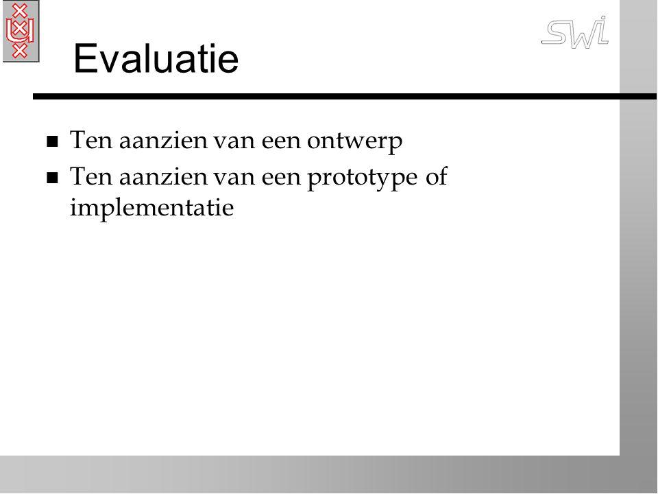 Evaluatie n Ten aanzien van een ontwerp n Ten aanzien van een prototype of implementatie