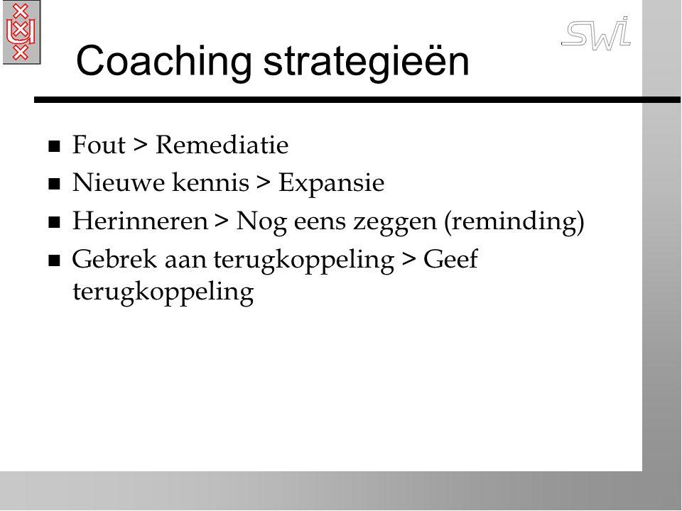 Coaching strategieën n Fout > Remediatie n Nieuwe kennis > Expansie n Herinneren > Nog eens zeggen (reminding) n Gebrek aan terugkoppeling > Geef terugkoppeling