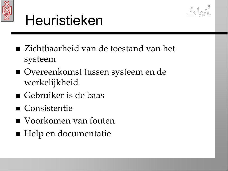 Heuristieken n Zichtbaarheid van de toestand van het systeem n Overeenkomst tussen systeem en de werkelijkheid n Gebruiker is de baas n Consistentie n Voorkomen van fouten n Help en documentatie