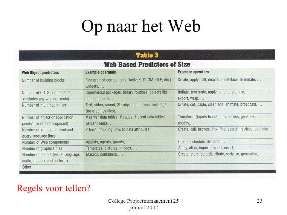 College Projectmanagement 25 januari 2002 23 Op naar het Web Regels voor tellen