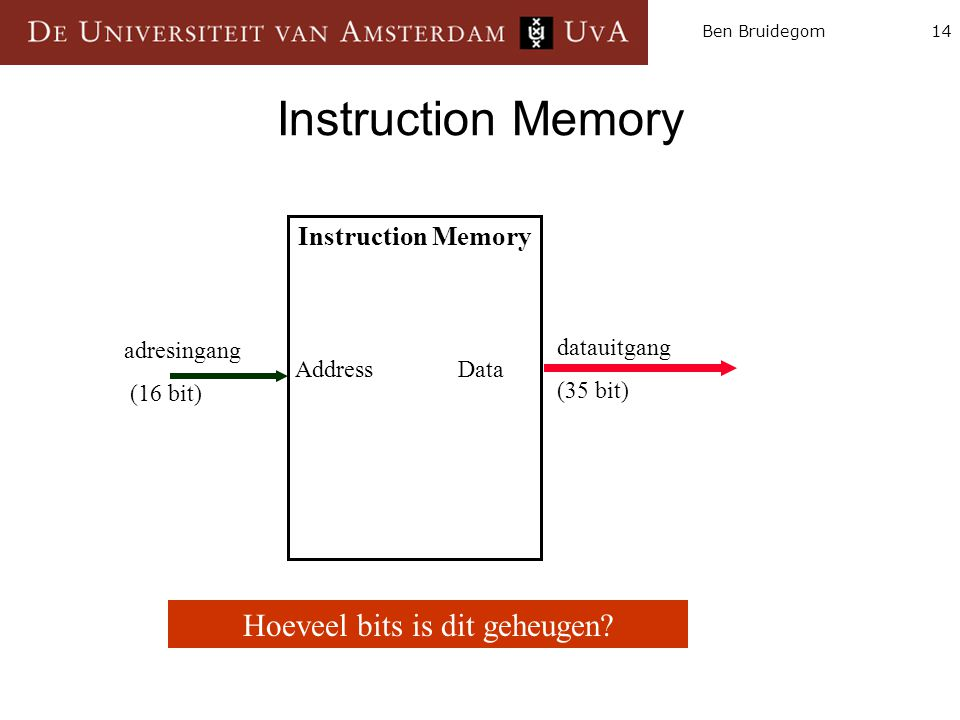 14Ben Bruidegom Instruction Memory Address Data datauitgang (35 bit) adresingang (16 bit) Hoeveel bits is dit geheugen
