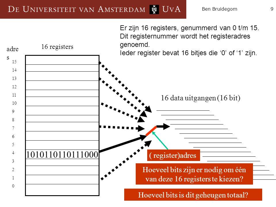 10Ben Bruidegom Antwoord: 4 bits.Voorbeeld: met het getal 0110 kies je register 6.