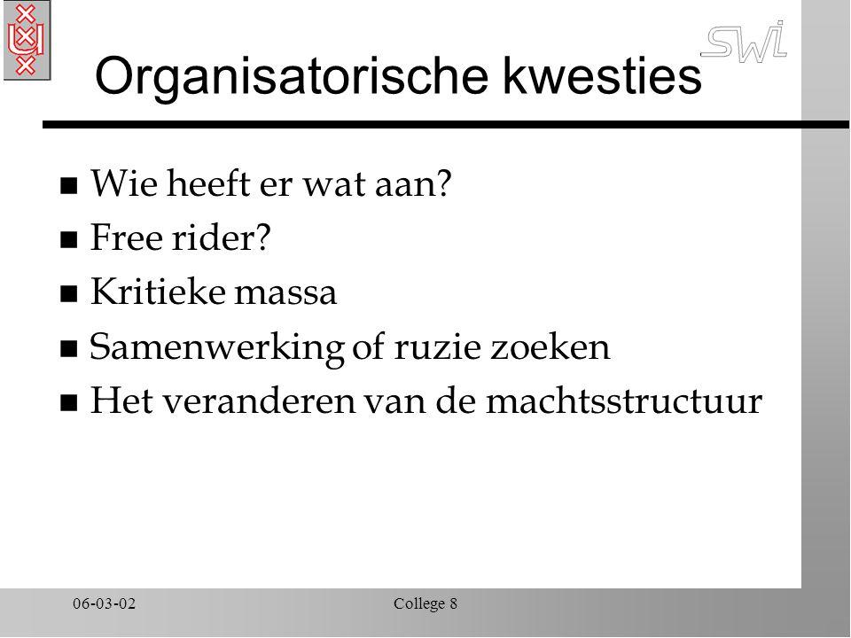 06-03-02College 8 Organisatorische kwesties n Wie heeft er wat aan? n Free rider? n Kritieke massa n Samenwerking of ruzie zoeken n Het veranderen van