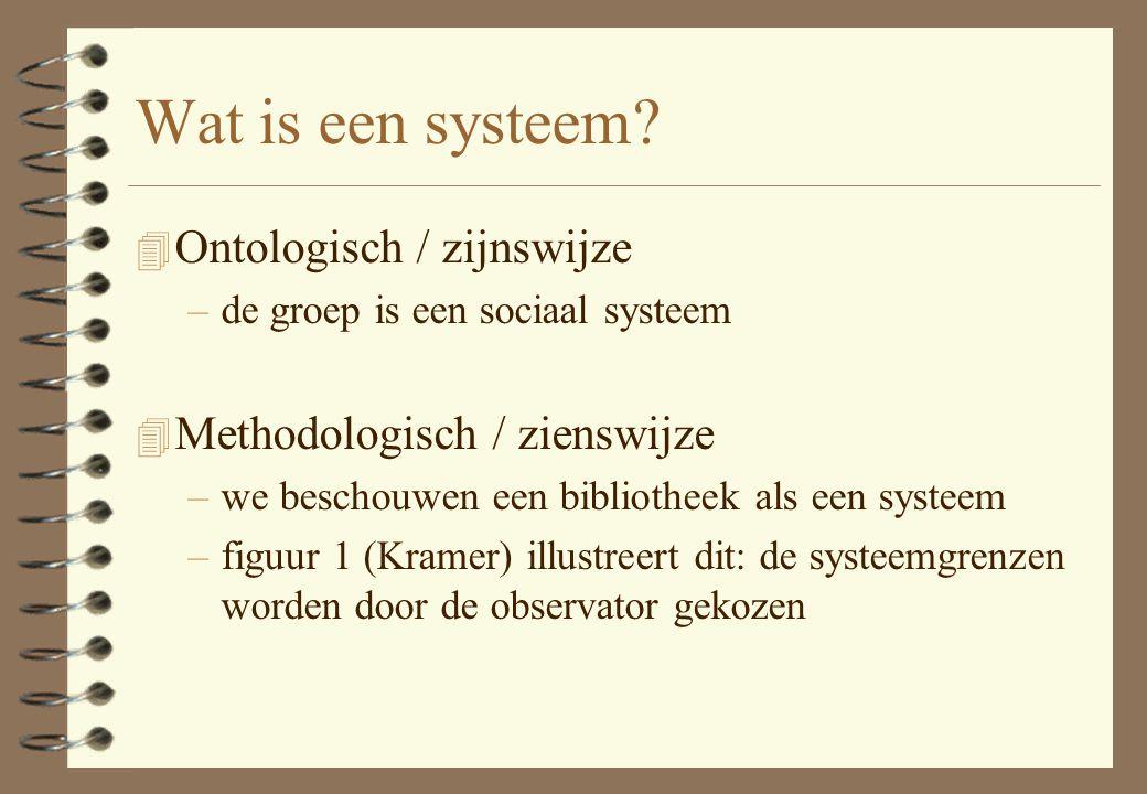 Wat is een systeem? 4 Ontologisch / zijnswijze –de groep is een sociaal systeem 4 Methodologisch / zienswijze –we beschouwen een bibliotheek als een s